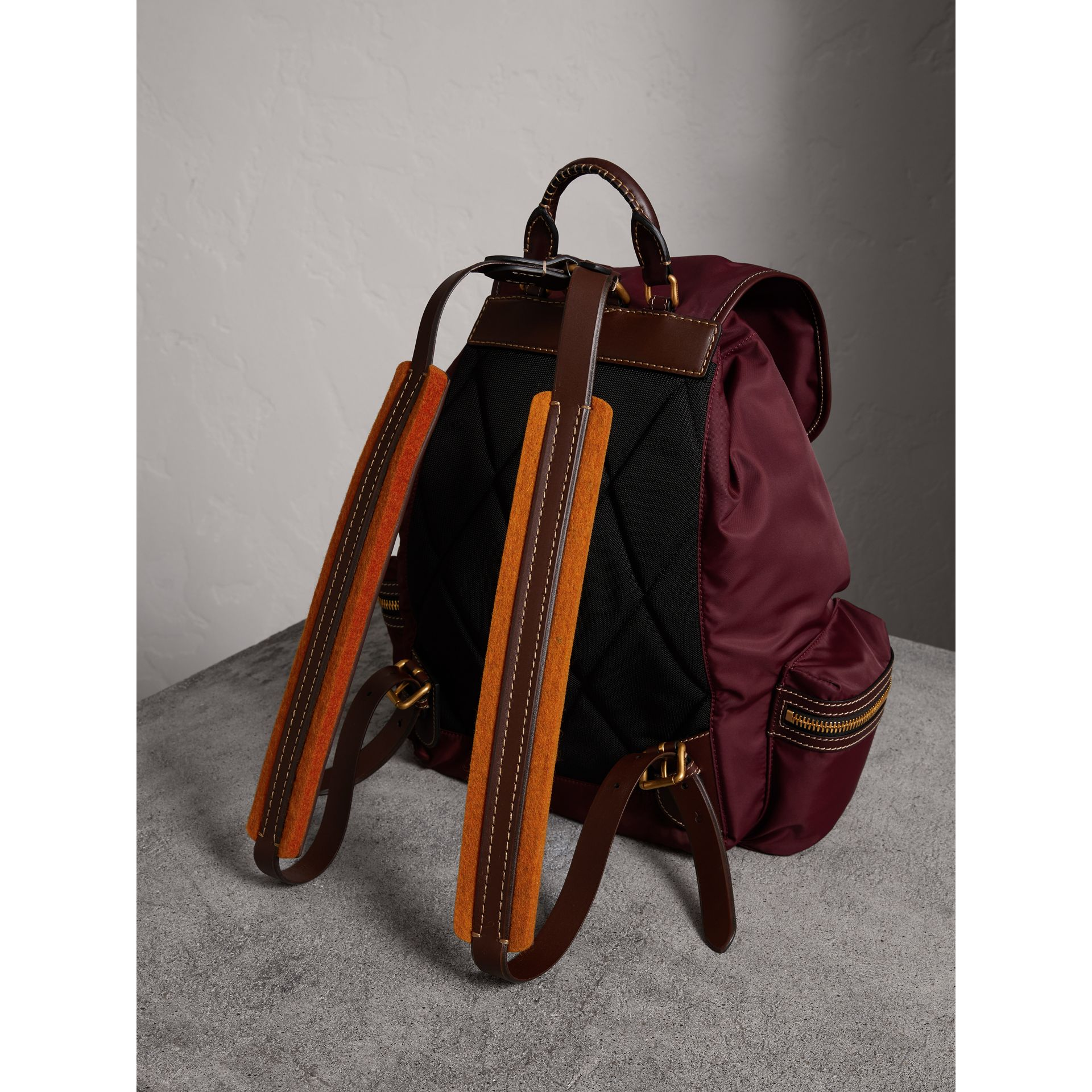 The Large Rucksack in Technical Nylon and Topstitched Leather in Burgundy Red - Men | Burberry United Kingdom - gallery image 4