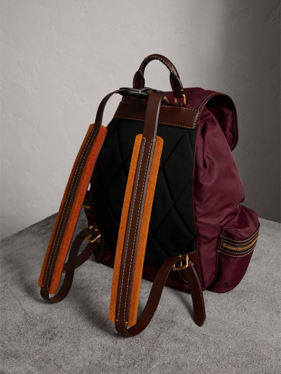 The Large Rucksack in Technical Nylon and Topstitched Leather in Burgundy Red - Men | Burberry - cell image 2