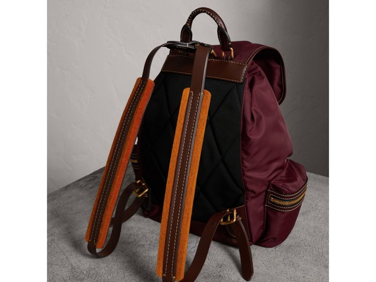 The Large Rucksack in Technical Nylon and Topstitched Leather in Burgundy Red - Men | Burberry United Kingdom - cell image 4