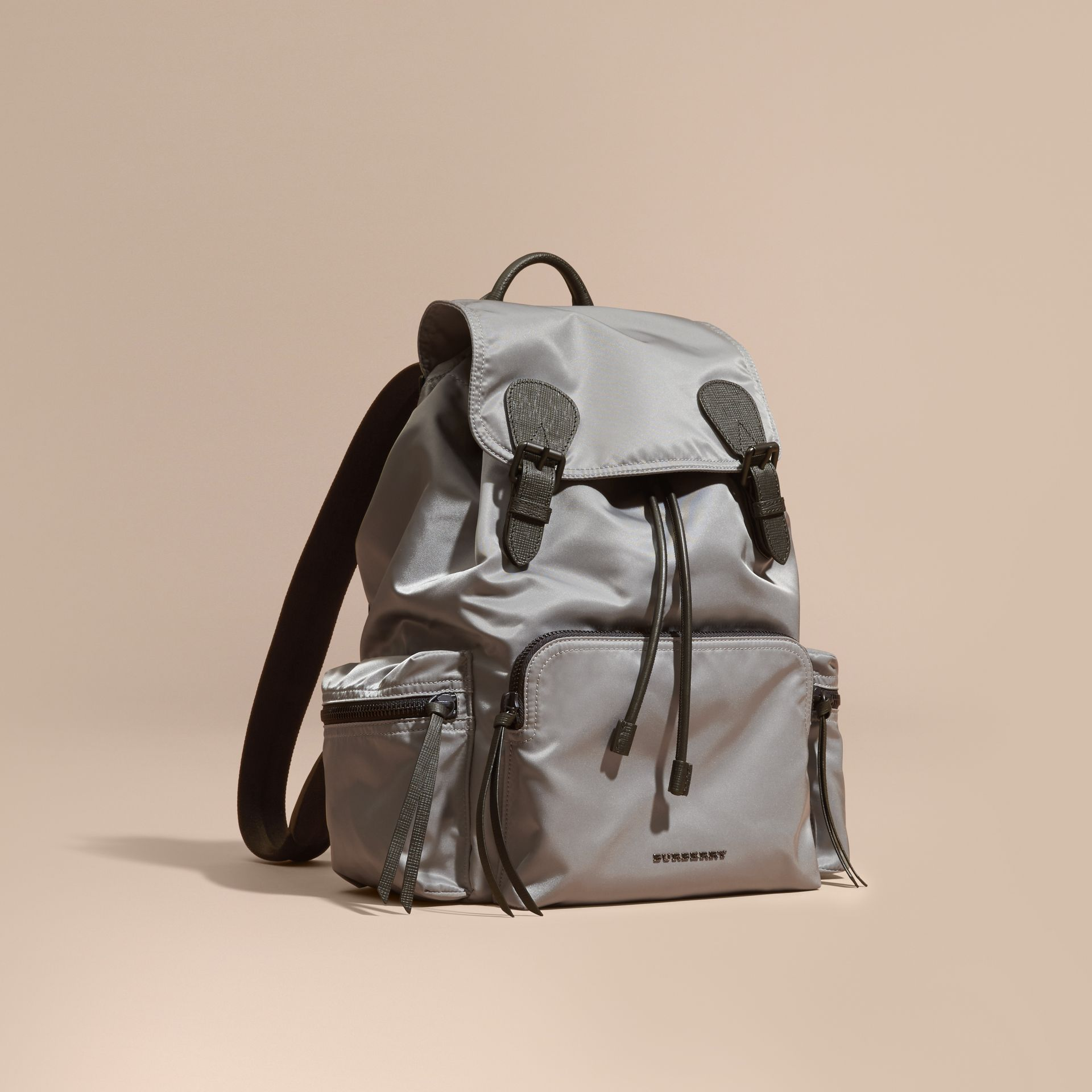 The Large Rucksack in Technical Nylon and Leather Thistle Grey - gallery image 1