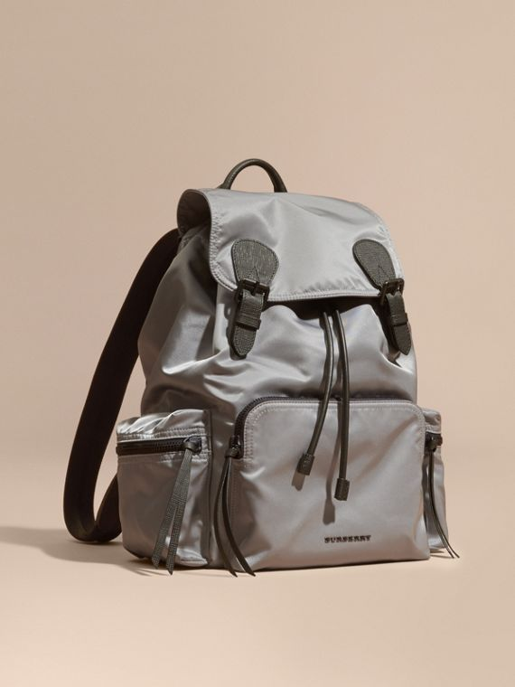 The Large Rucksack in Technical Nylon and Leather in Thistle Grey