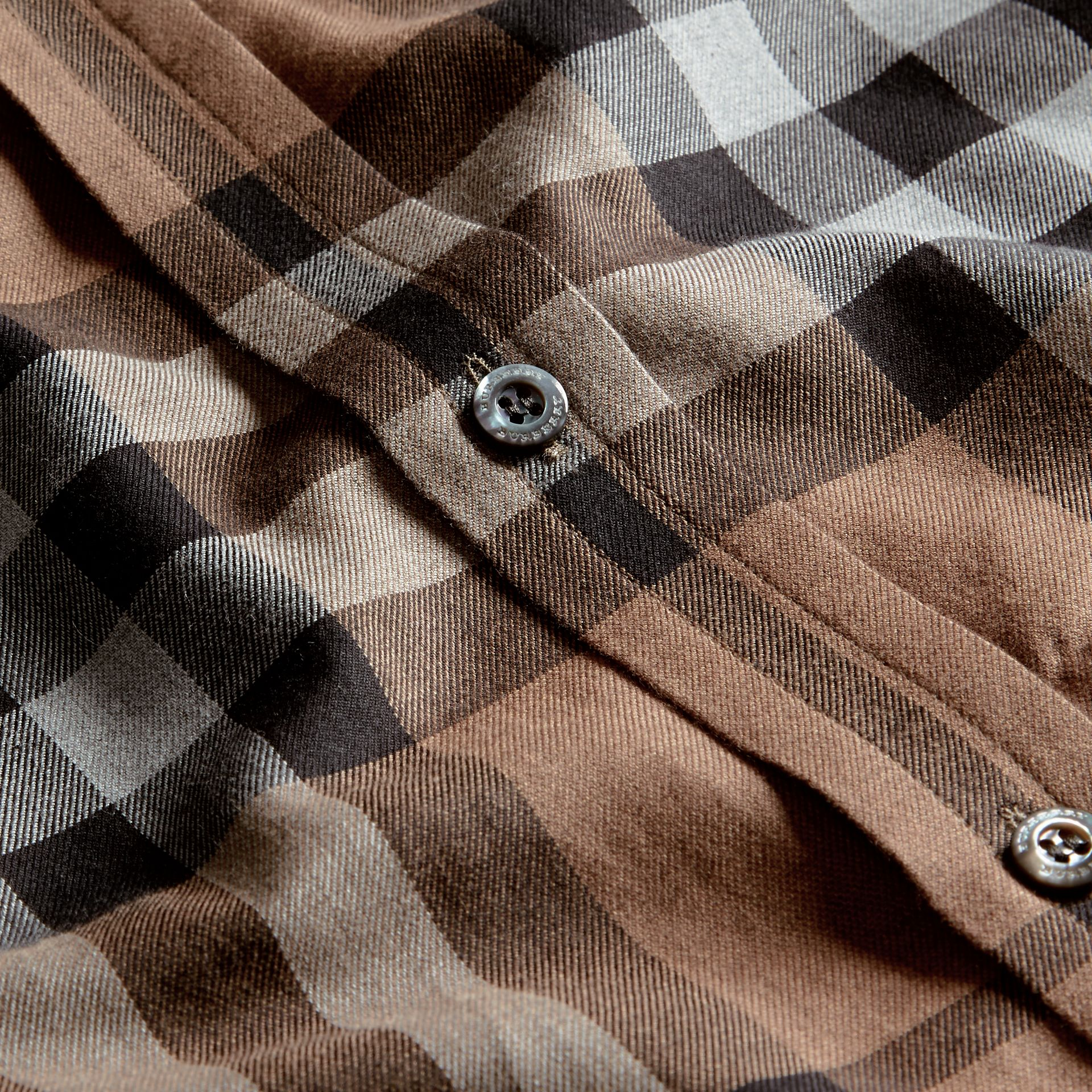 Check Cotton Cashmere Flannel Shirt in Walnut - Men | Burberry - gallery image 2