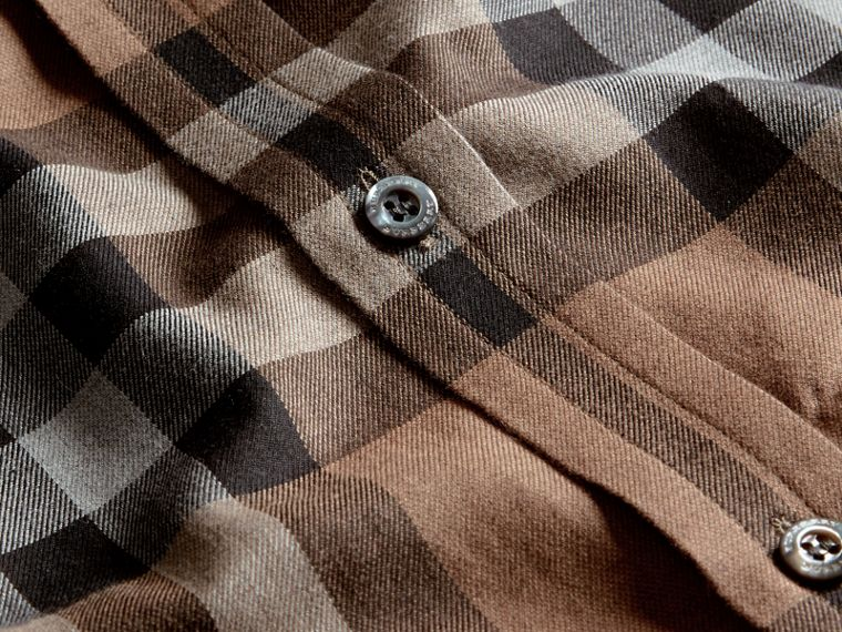 Check Cotton Cashmere Flannel Shirt in Walnut - Men | Burberry - cell image 1