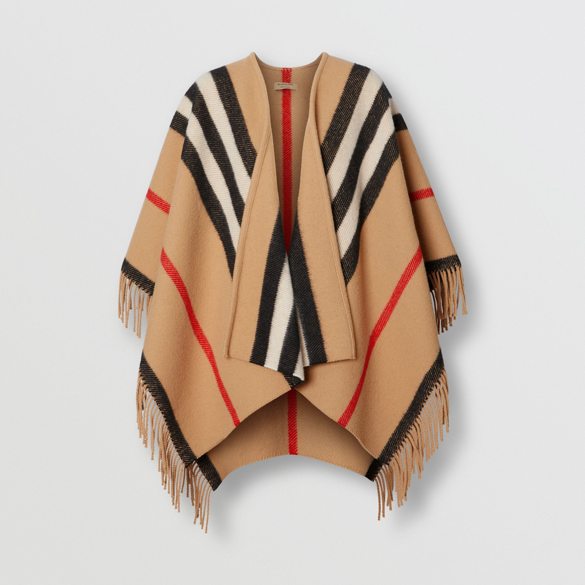 Striped Wool Cape in Camel - Women | Burberry United States - gallery image 3