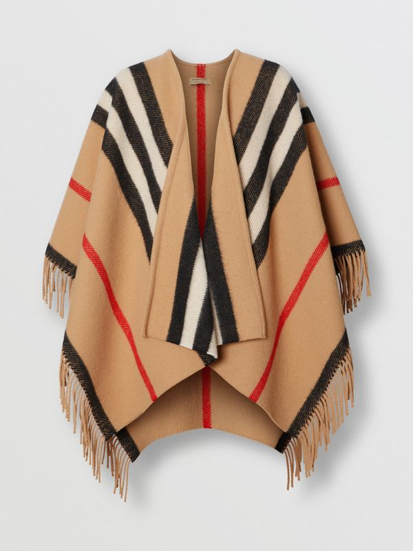 Striped Wool Cape in Camel - Women | Burberry - cell image 3