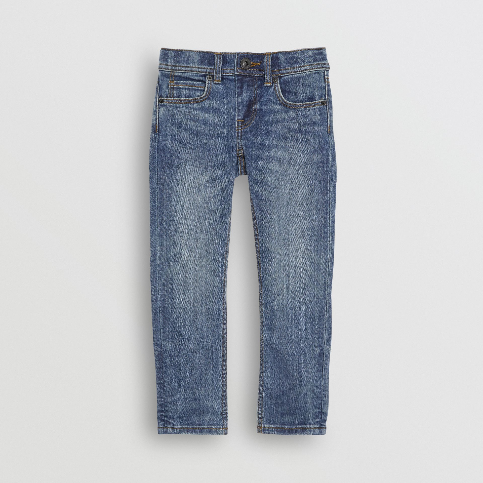 Skinny Fit Stretch Denim Jeans in Mid Indigo - Girl | Burberry Canada - gallery image 0