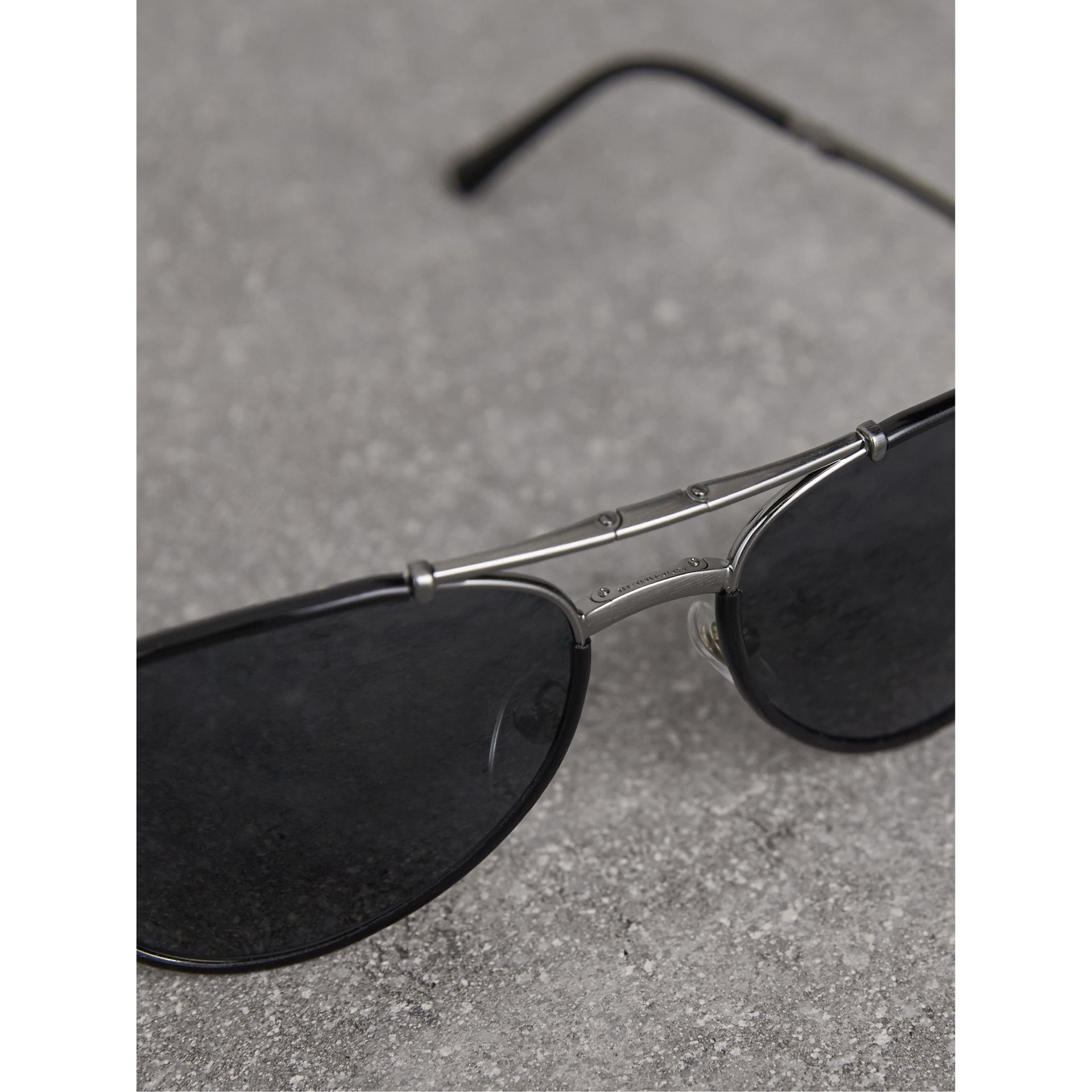 Folding Pilot Sunglasses in Black - Men | Burberry United States - gallery image 2