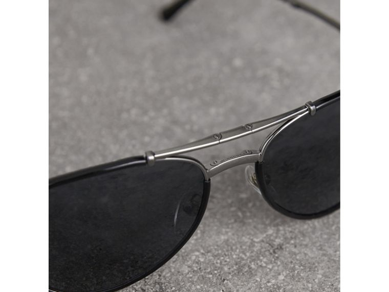 Folding Pilot Sunglasses in Black - Men | Burberry Singapore - cell image 1