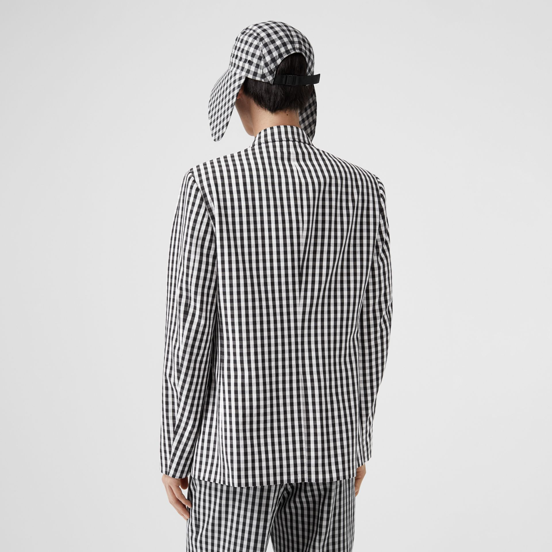 Classic Fit Gingham Technical Wool Blazer in Black | Burberry - gallery image 2