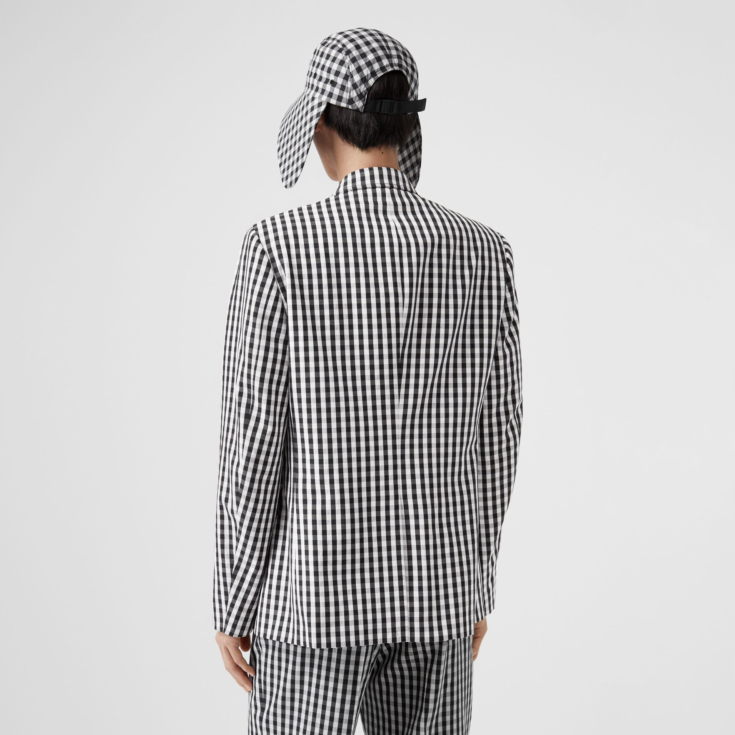 Classic Fit Gingham Technical Wool Blazer in Black - Men | Burberry - 3
