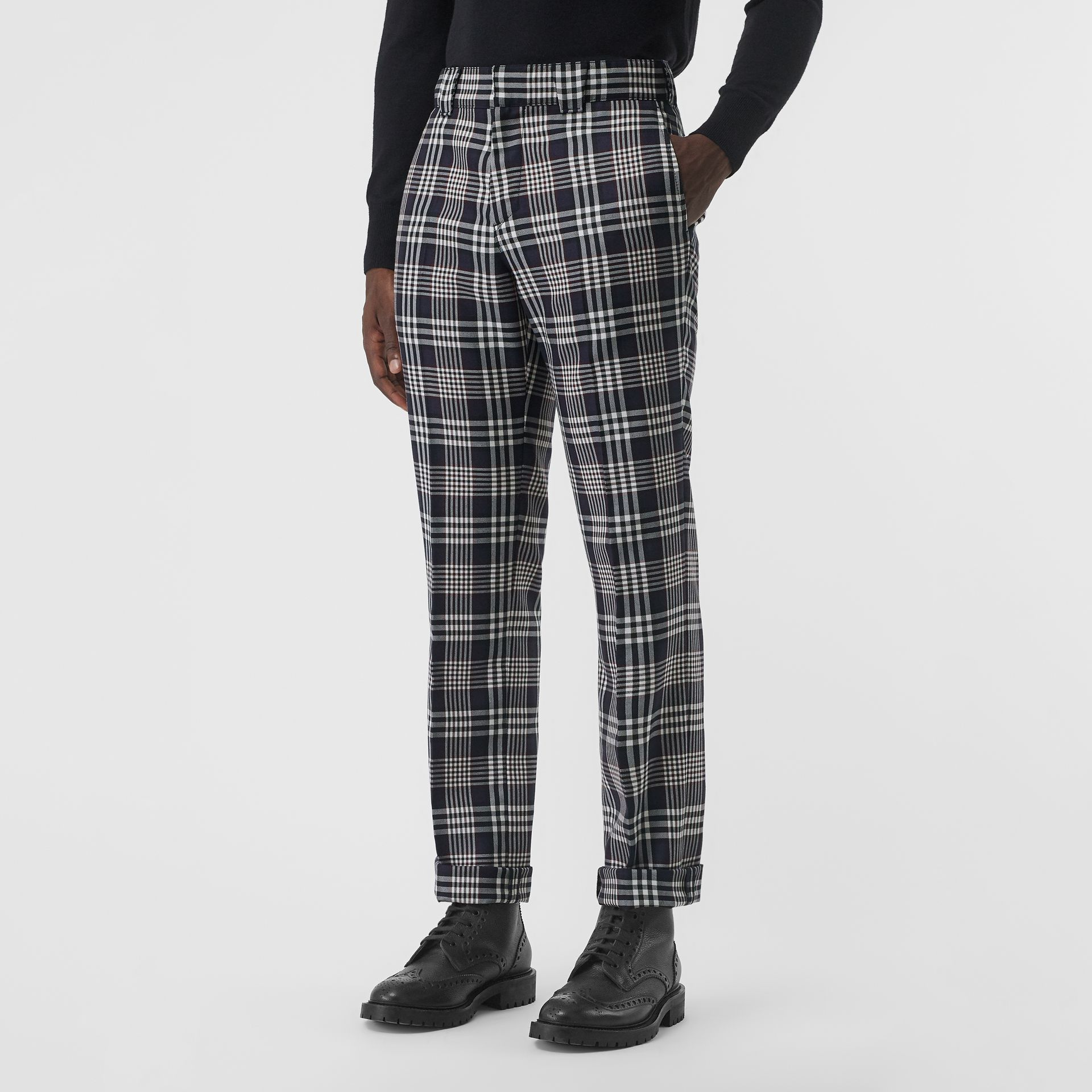 Slim Fit Check Wool Mohair Silk Tailored Trousers in Ink Blue - Men | Burberry United Kingdom - gallery image 4