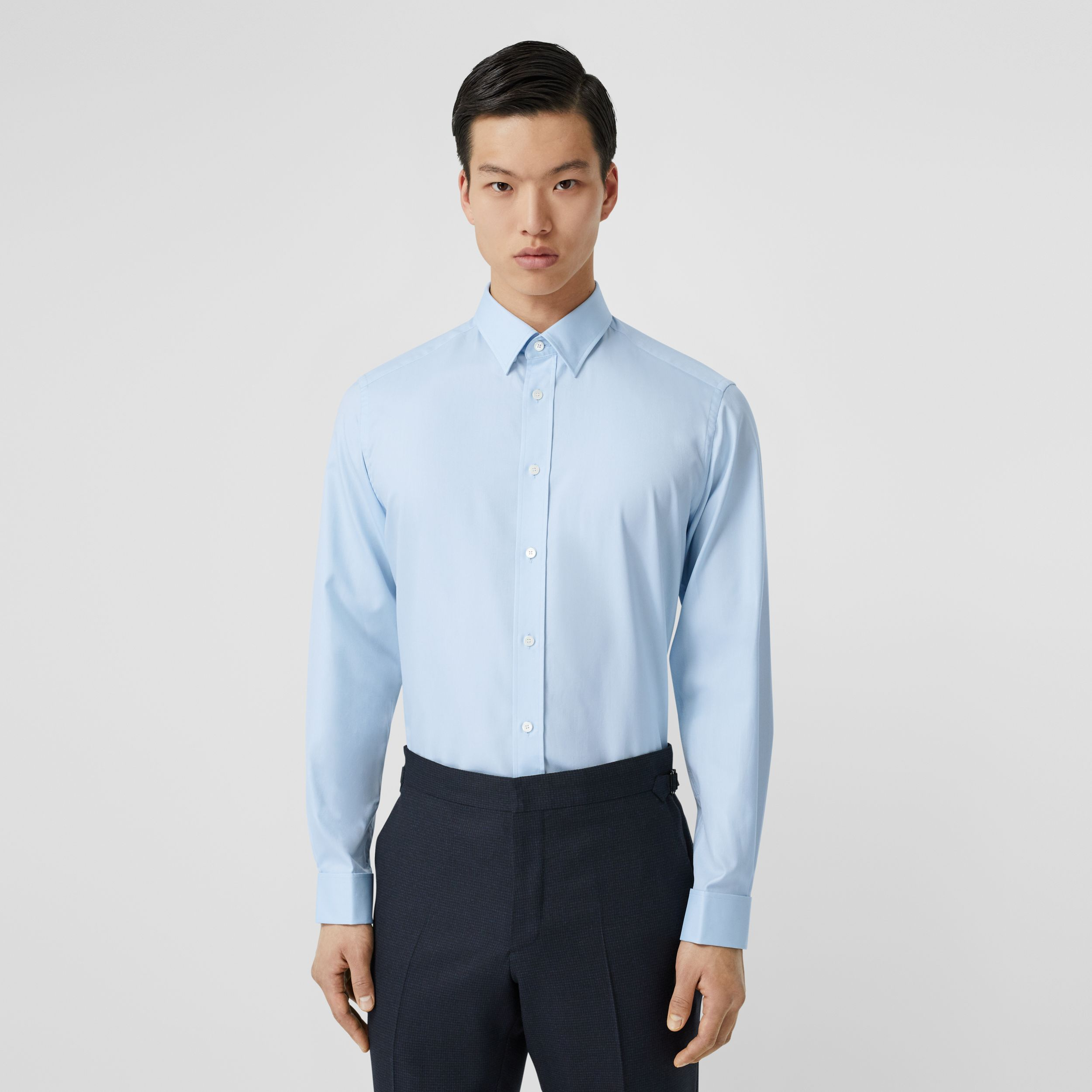 Classic Fit Monogram Motif Cotton Oxford Shirt in Pale Blue - Men | Burberry - 1