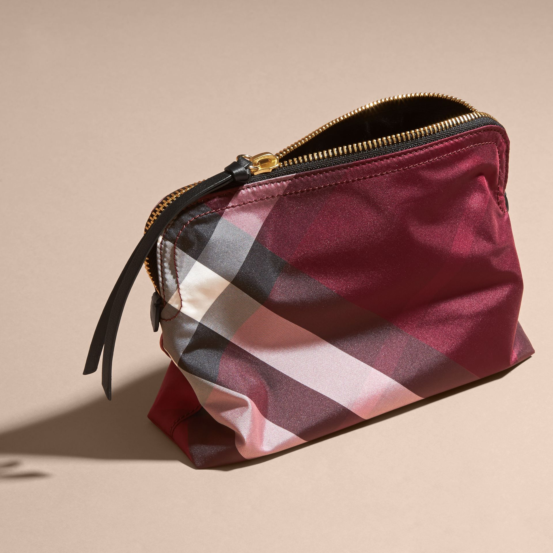 Large Zip-top Check Pouch Plum - gallery image 4