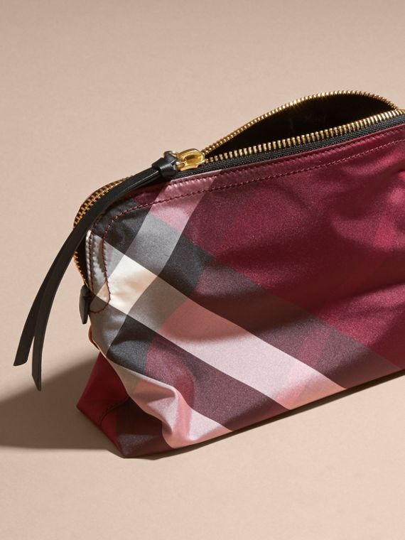 Large Zip-top Check Pouch in Plum - Women | Burberry Australia - cell image 3