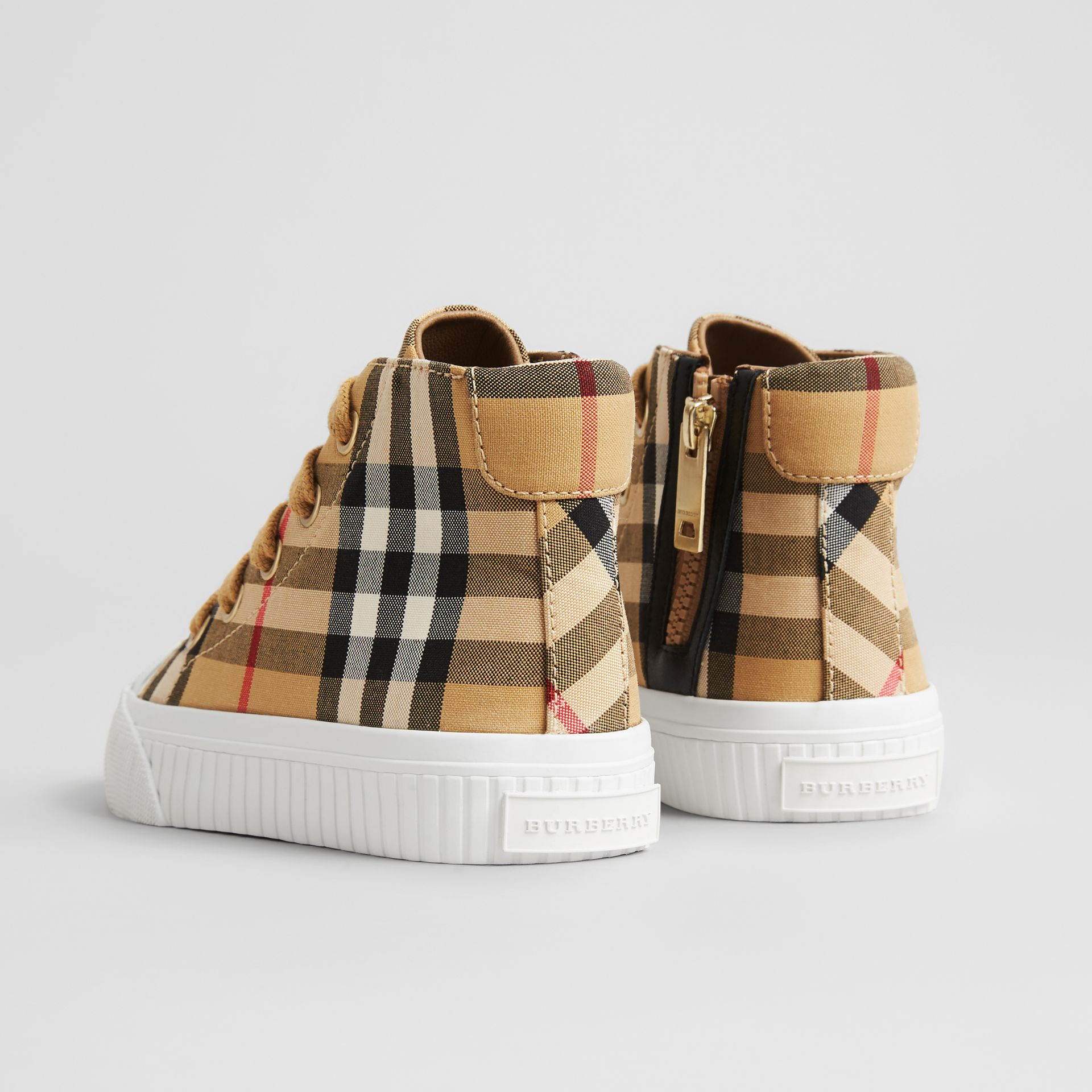 Vintage Check and Leather High-top Sneakers in Antique Yellow/optic White - Children | Burberry Singapore - gallery image 2