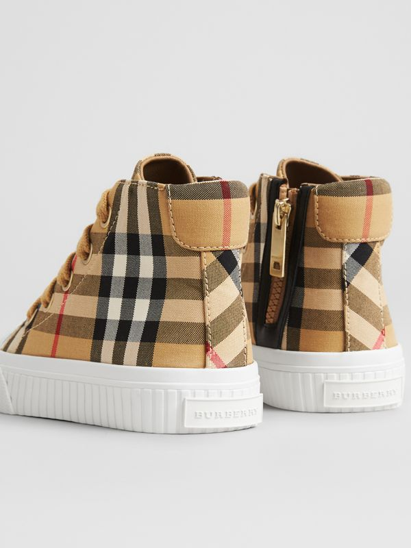 Vintage Check and Leather High-top Sneakers in Antique Yellow/optic White - Children | Burberry Singapore - cell image 2