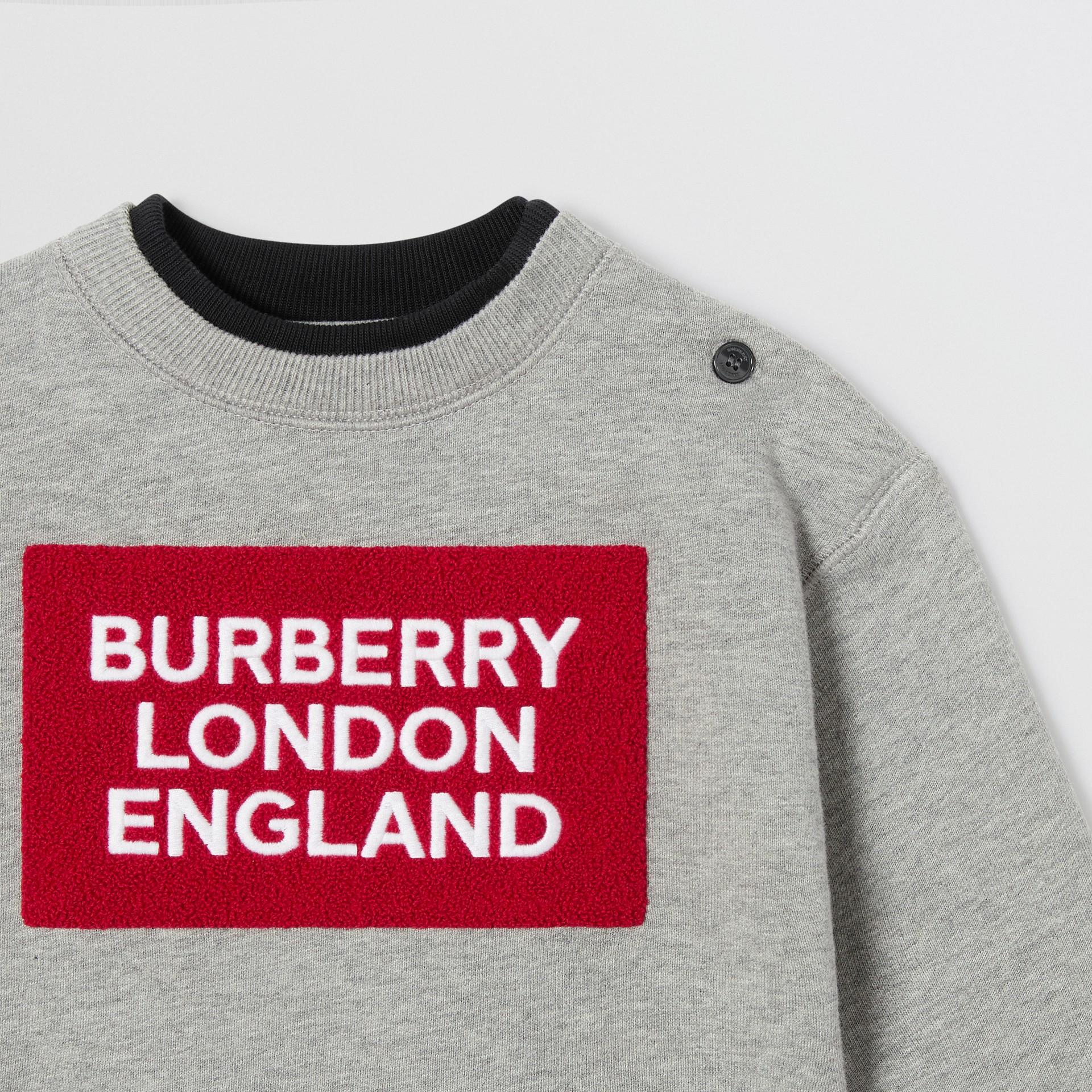 Logo Detail Jersey Sweatshirt in Grey Melange - Children | Burberry United Kingdom - gallery image 5