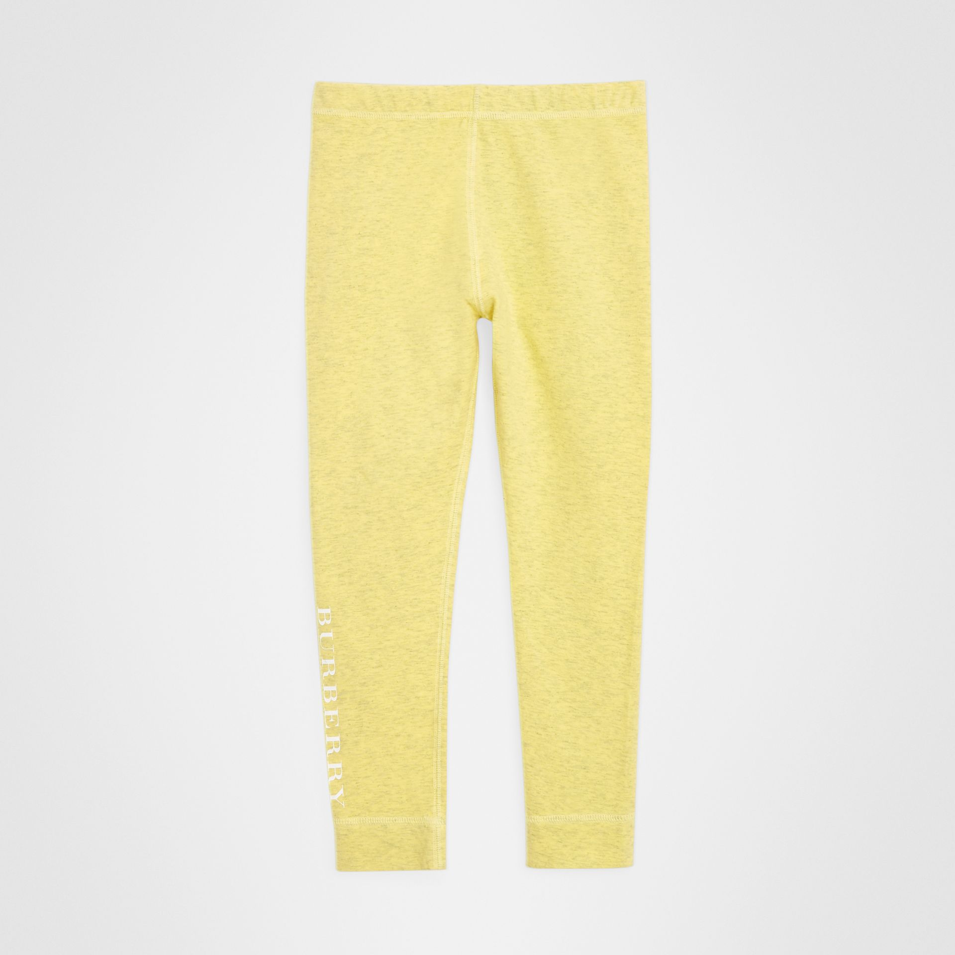 Logo Print Stretch Cotton Leggings in Citrus Yellow | Burberry Singapore - gallery image 0
