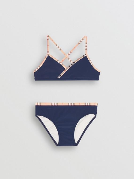 Check Trim Bikini in Navy