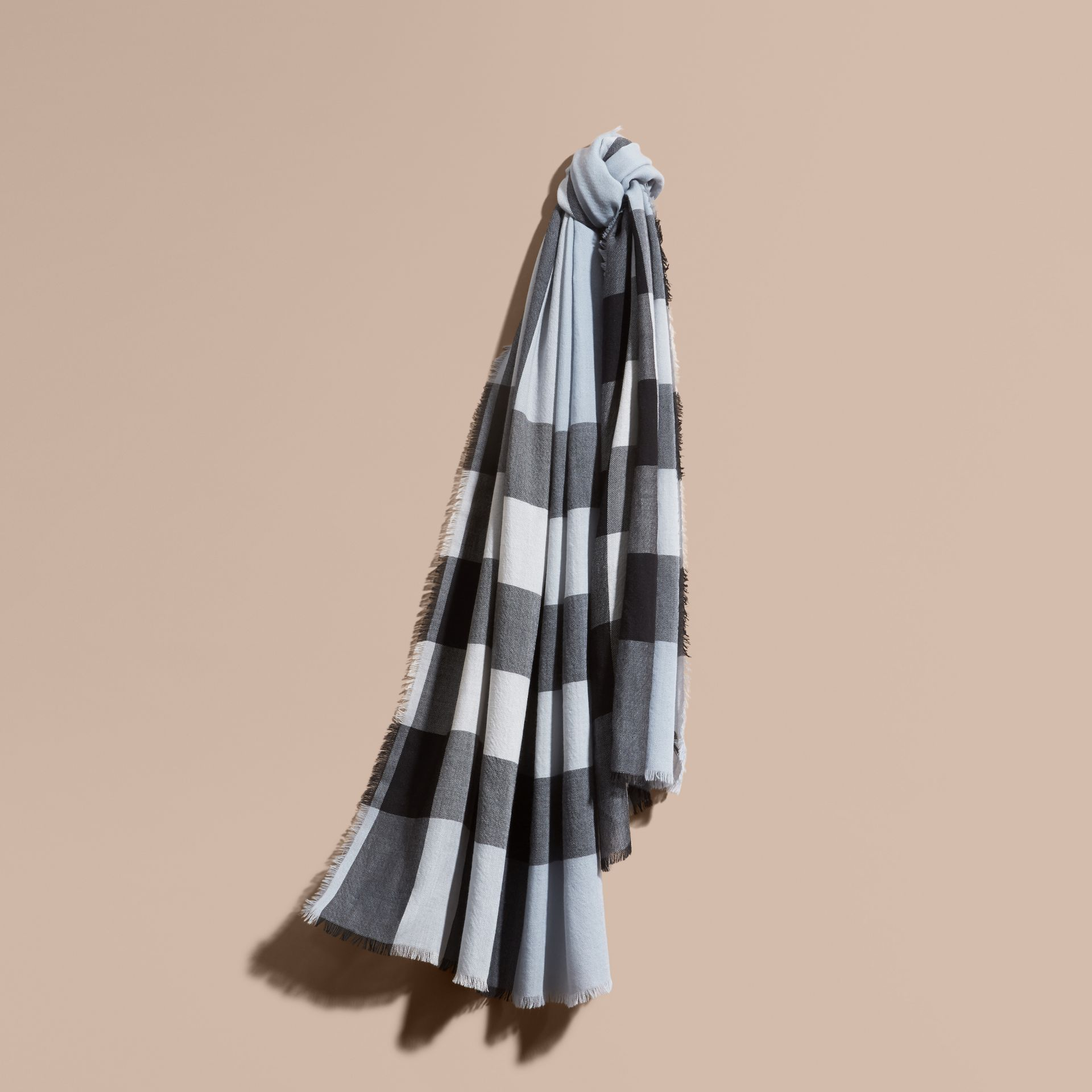The Lightweight Cashmere Scarf in Check Dusty Blue - gallery image 6