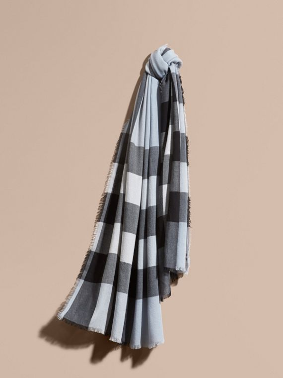 The Lightweight Cashmere Scarf in Check in Dusty Blue
