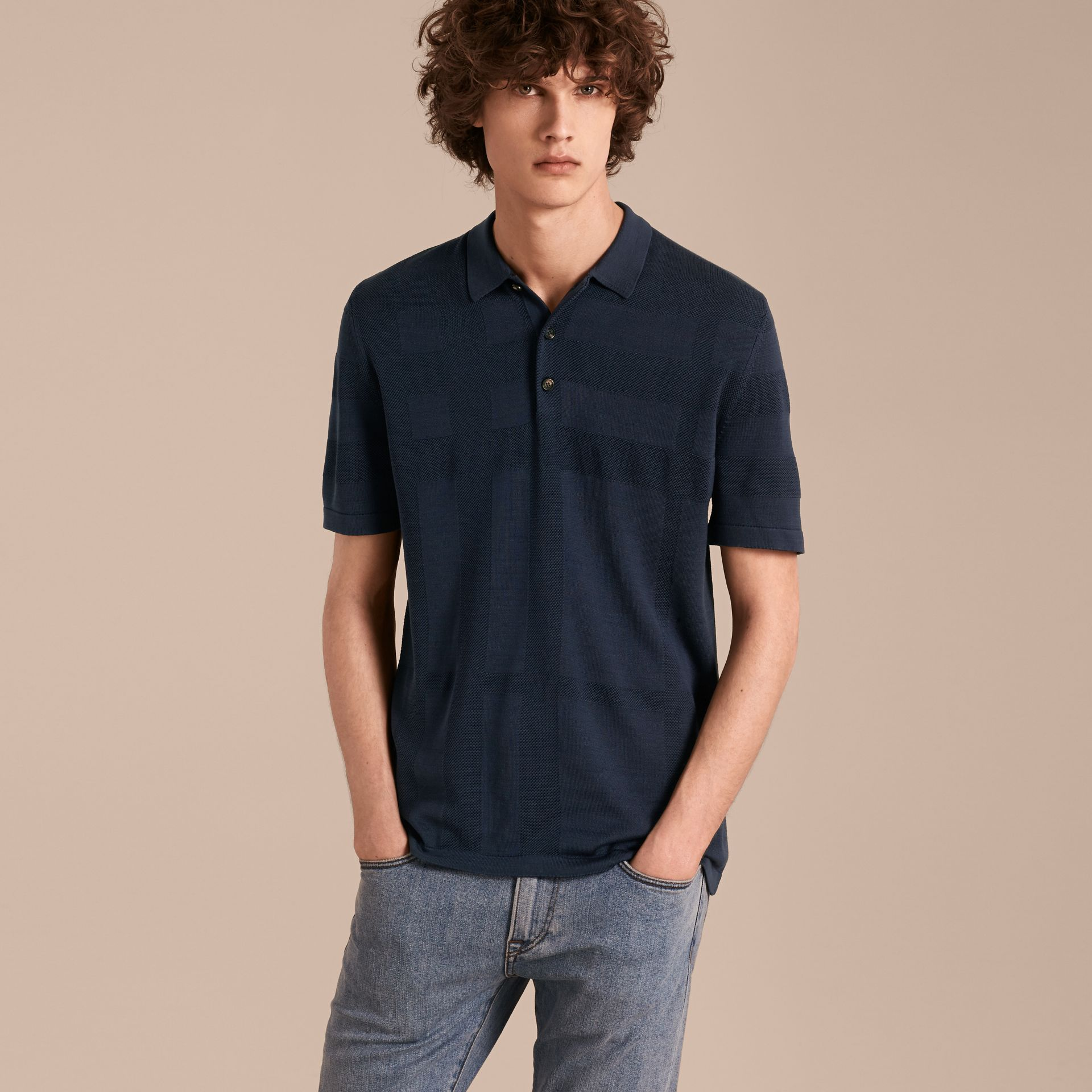 Check Jacquard Piqué Silk Cotton Polo Shirt in Navy - Men | Burberry - gallery image 6
