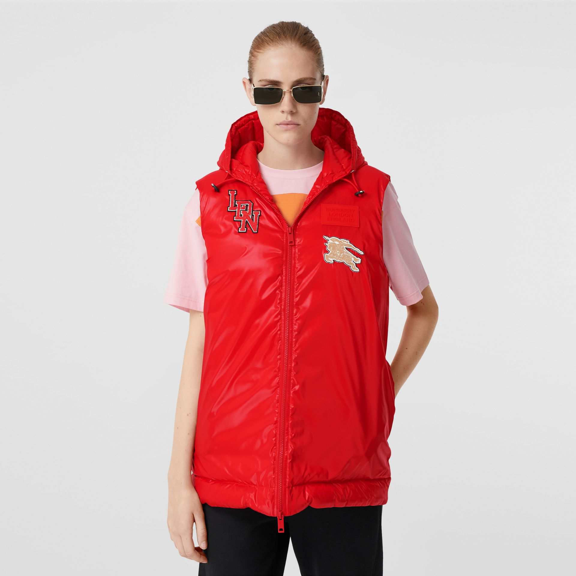 Logo Graphic Puffer Gilet in Bright Red - Women | Burberry - gallery image 4