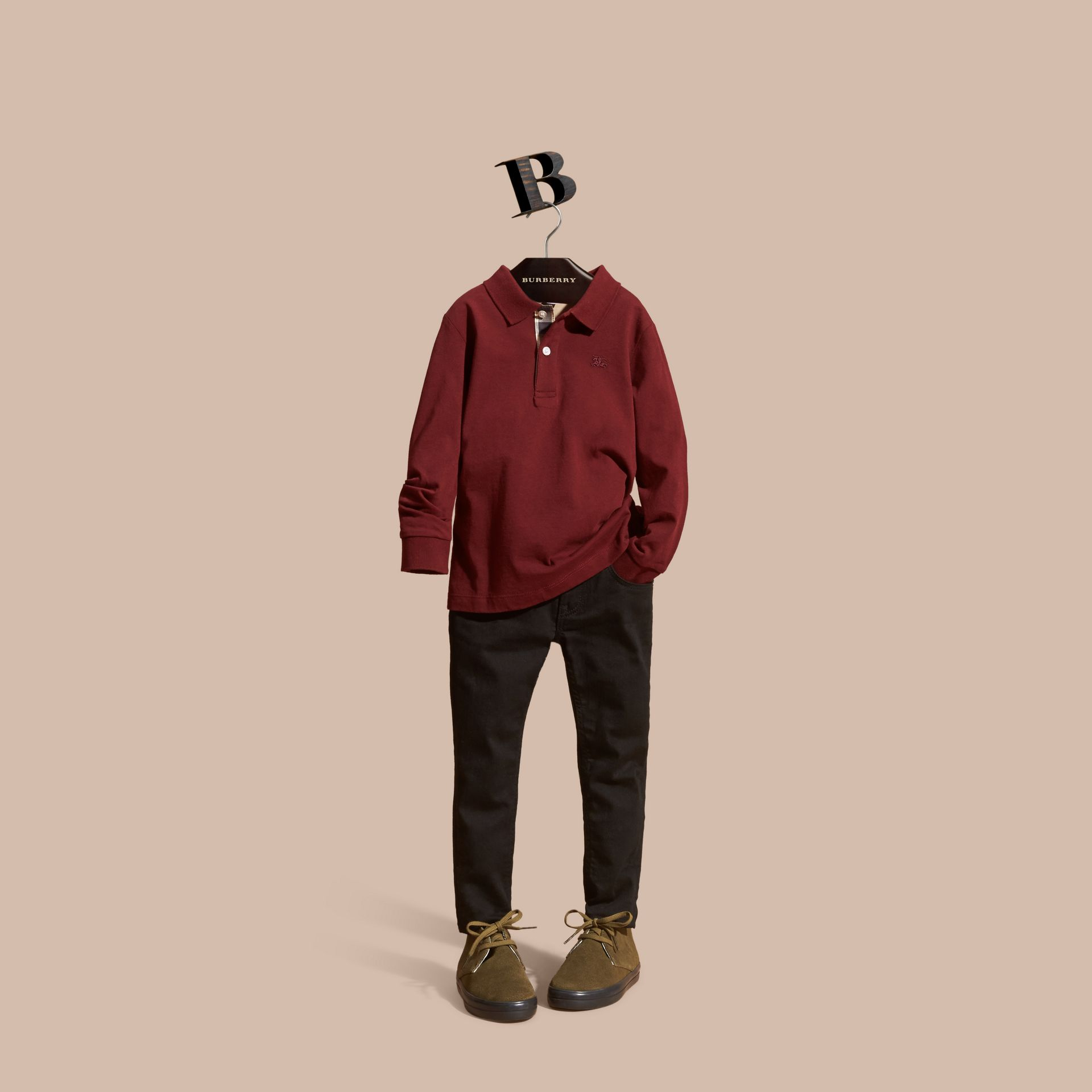 Burgundy red Long-sleeved Cotton Polo Shirt Burgundy Red - gallery image 1