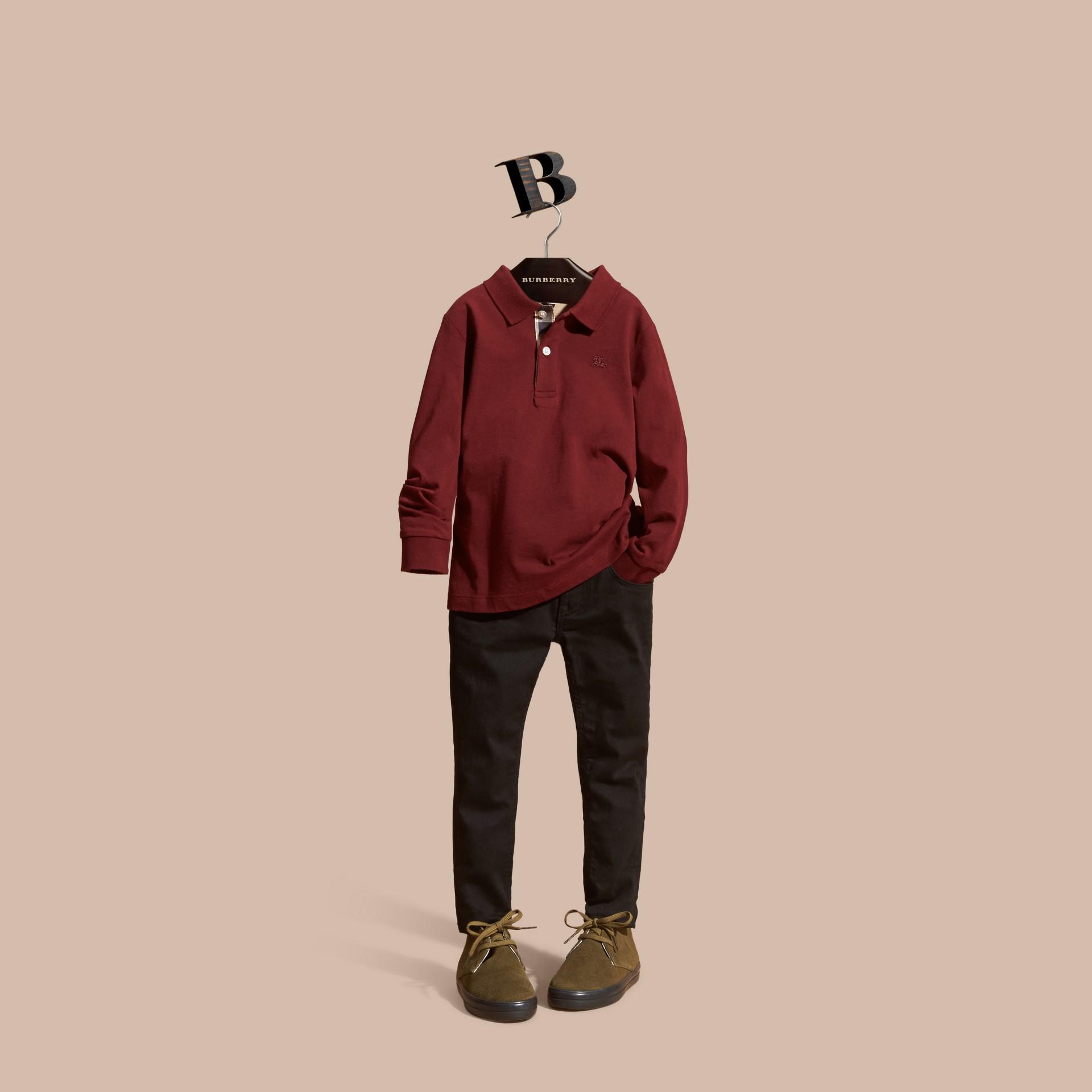 Rosso borgogna Polo in cotone a maniche lunghe Rosso Borgogna - immagine della galleria 1
