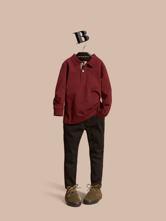 Long-sleeved Cotton Polo Shirt Burgundy Red