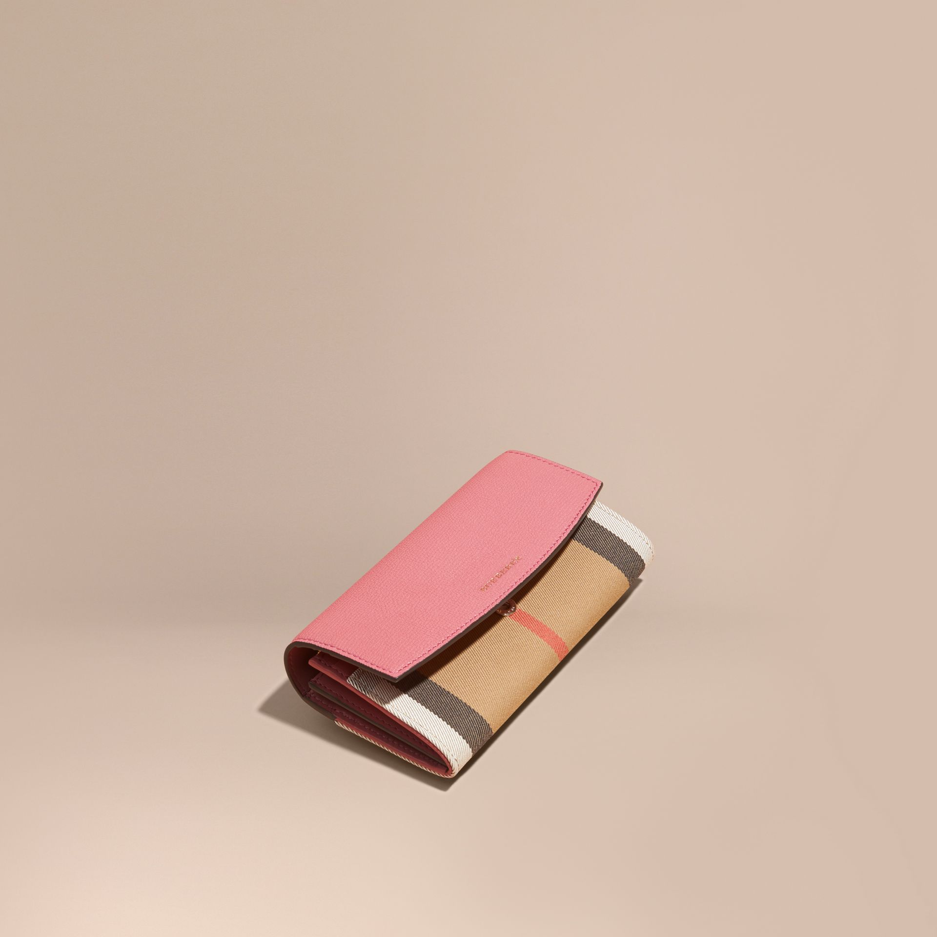 House Check and Leather Continental Wallet Mauve Pink - gallery image 1