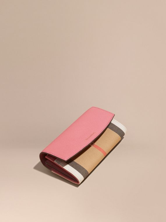 House Check and Leather Continental Wallet in Mauve Pink - Women | Burberry