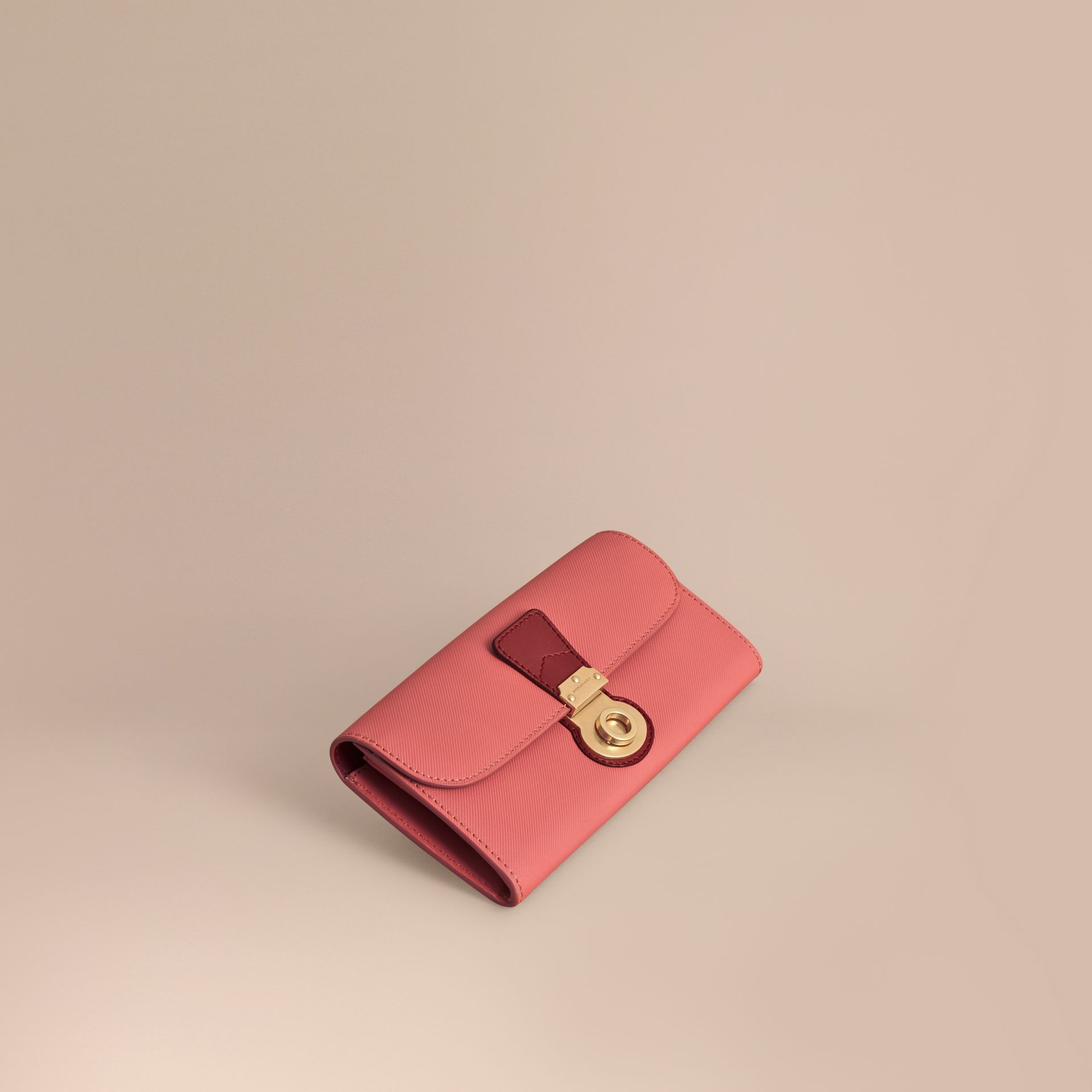 Two-tone Trench Leather Continental Wallet in Blossom Pink/antique Red - Women | Burberry - gallery image 1
