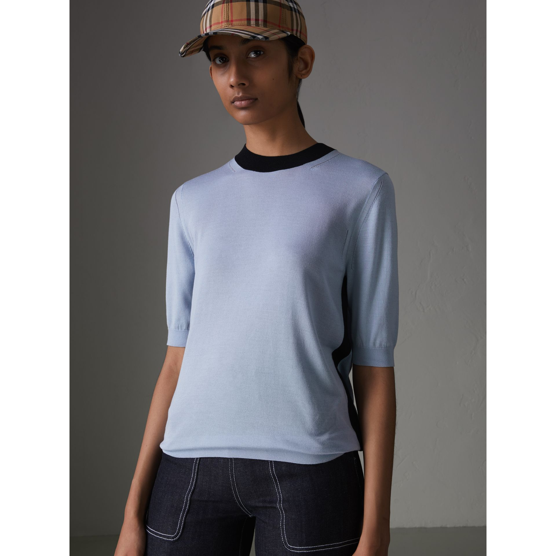 Silk Cashmere T-shirt in Sky Blue - Women | Burberry - gallery image 4