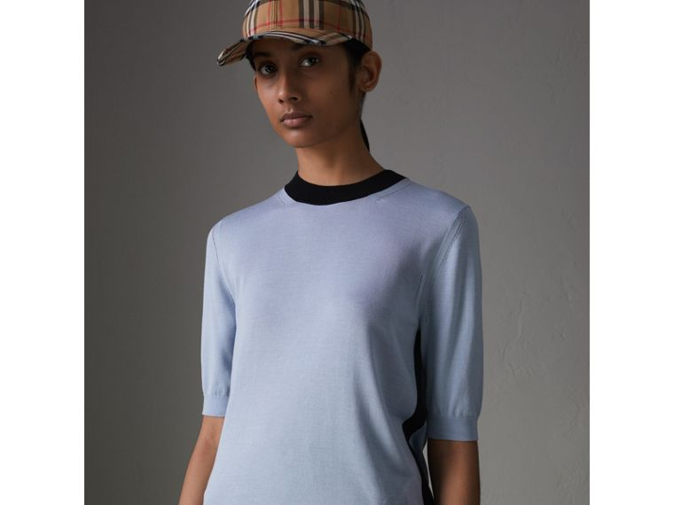 Silk Cashmere T-shirt in Sky Blue - Women | Burberry - cell image 4