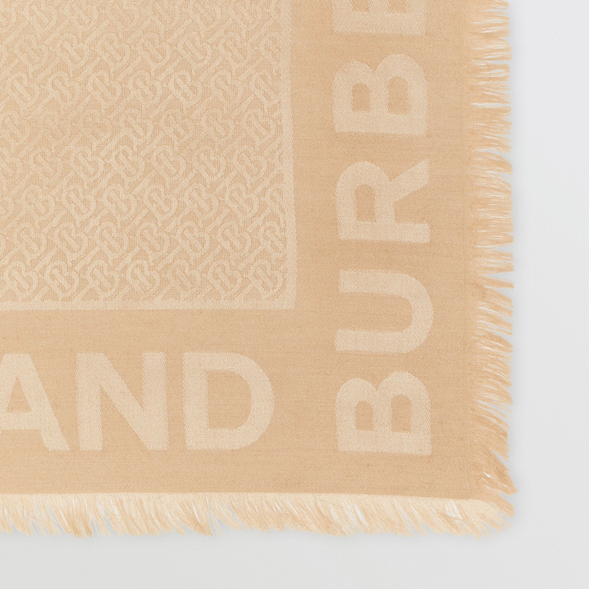 Monogram Silk Wool Jacquard Large Square Scarf in Honey | Burberry United Kingdom - gallery image 1