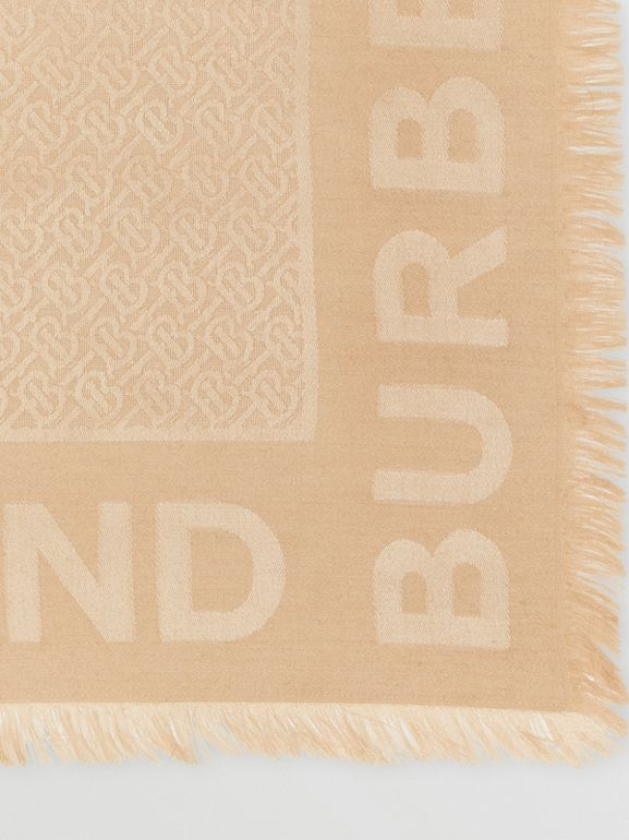 Monogram Silk Wool Jacquard Large Square Scarf in Honey | Burberry Canada - cell image 1