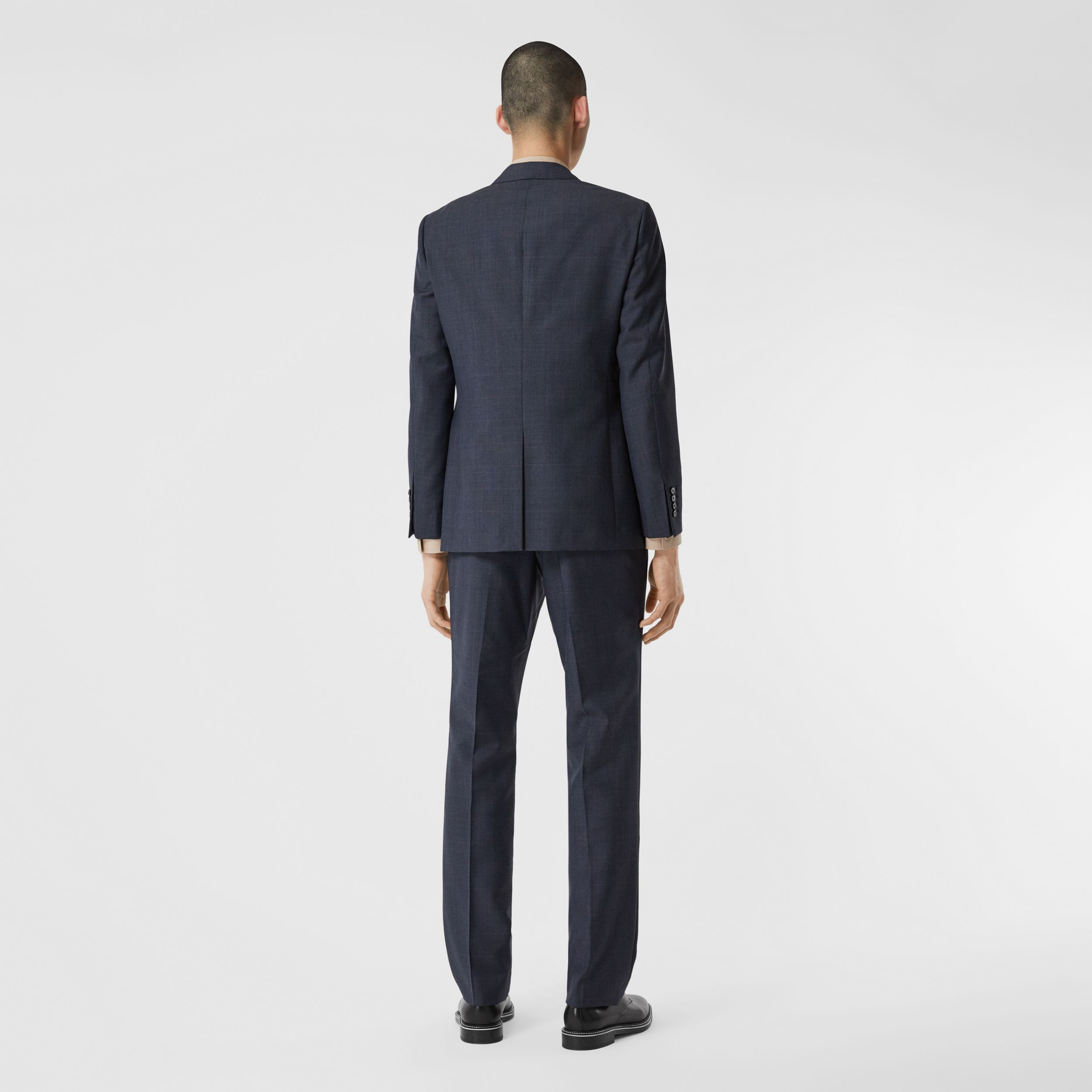 Slim Fit Prince of Wales Check Wool Suit in Carbon Blue - Men | Burberry - 3