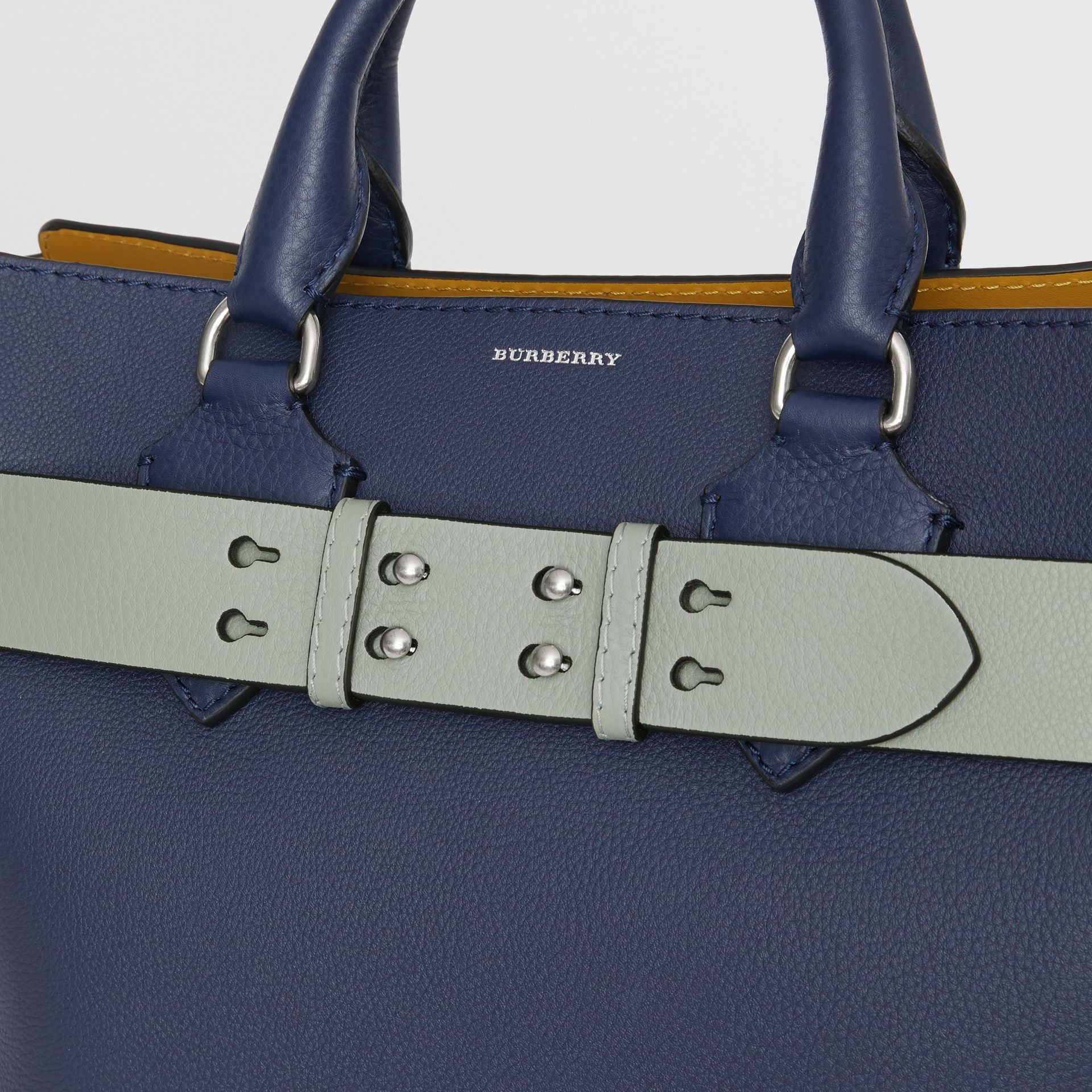 The Medium Belt Bag Grainy Leather Belt in Grey Blue - Women | Burberry - gallery image 1
