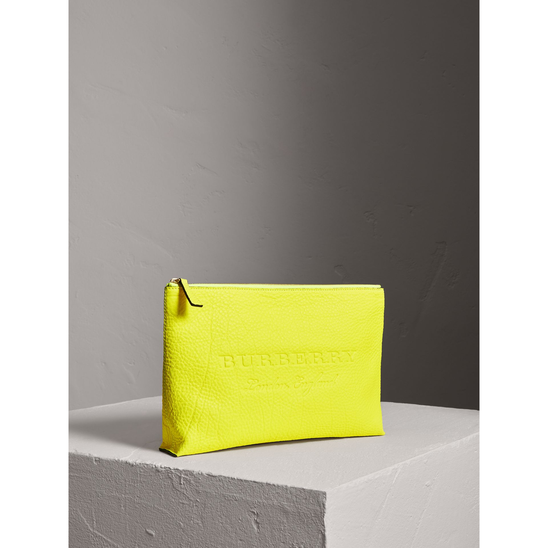 Large Embossed Leather Zip Pouch in Bright Yellow | Burberry Singapore - gallery image 4