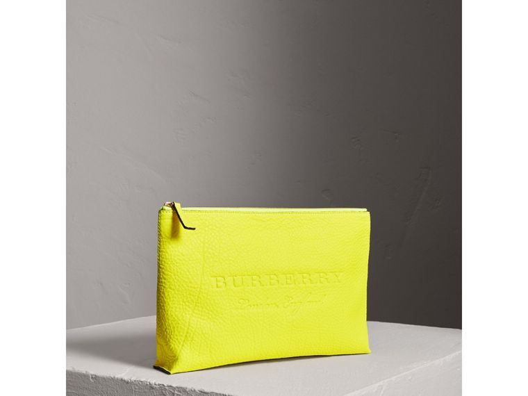 Large Embossed Leather Zip Pouch in Bright Yellow | Burberry - cell image 4