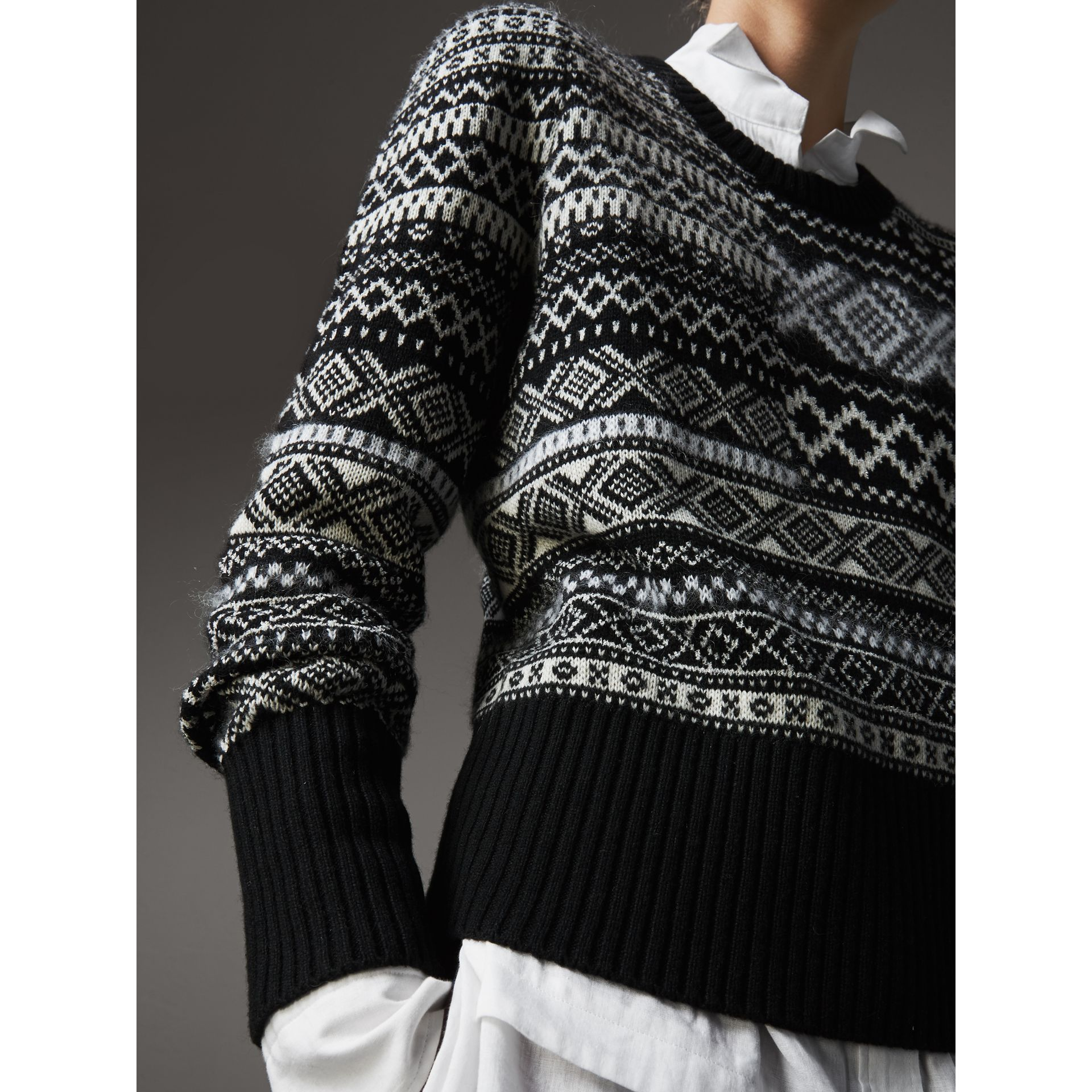 Fair Isle Cashmere Mohair Blend Patchwork Sweater in Black - Women | Burberry - gallery image 1