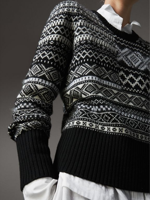 Fair Isle Cashmere Mohair Blend Patchwork Sweater in Black - Women | Burberry - cell image 1