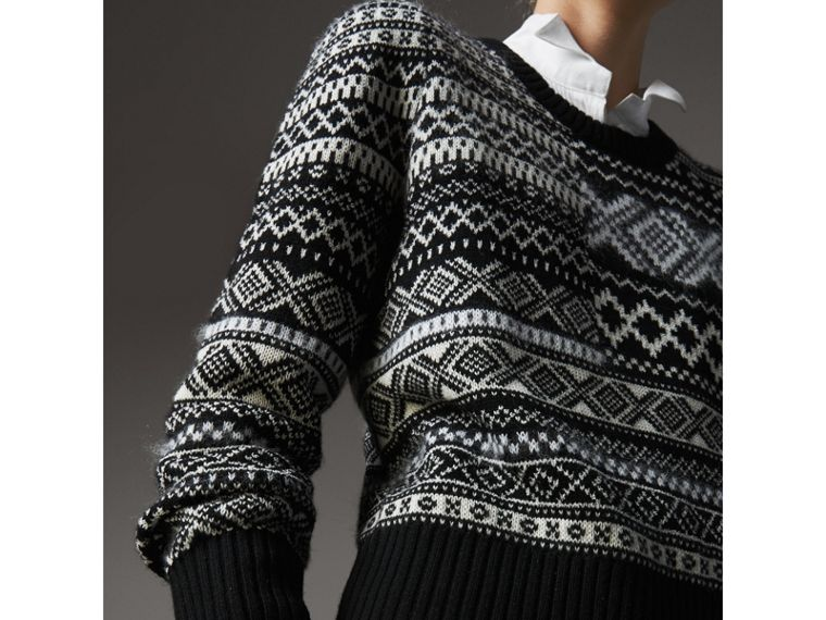 Fair Isle Cashmere Mohair Blend Patchwork Sweater in Black - Women | Burberry Australia - cell image 1