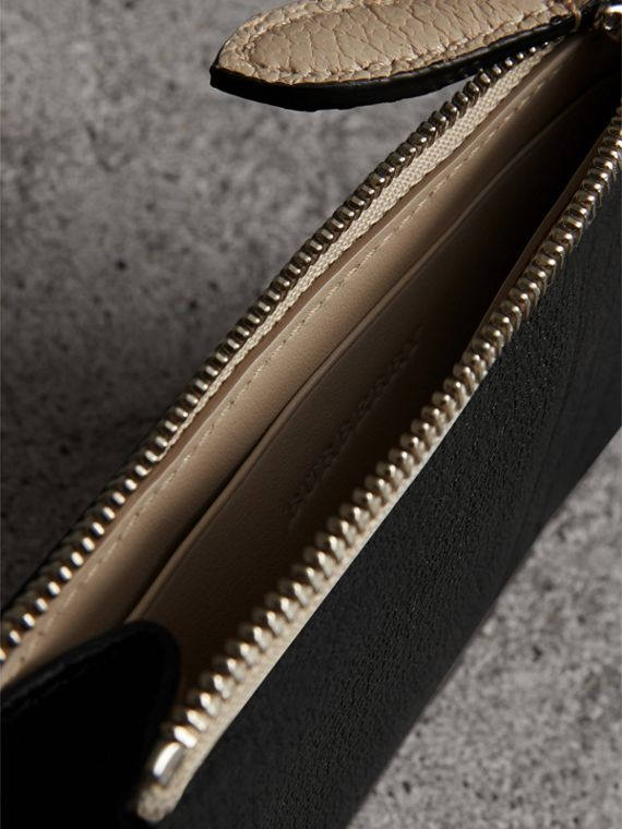 Two-tone Leather Zip Card Case in Black | Burberry Australia - cell image 3
