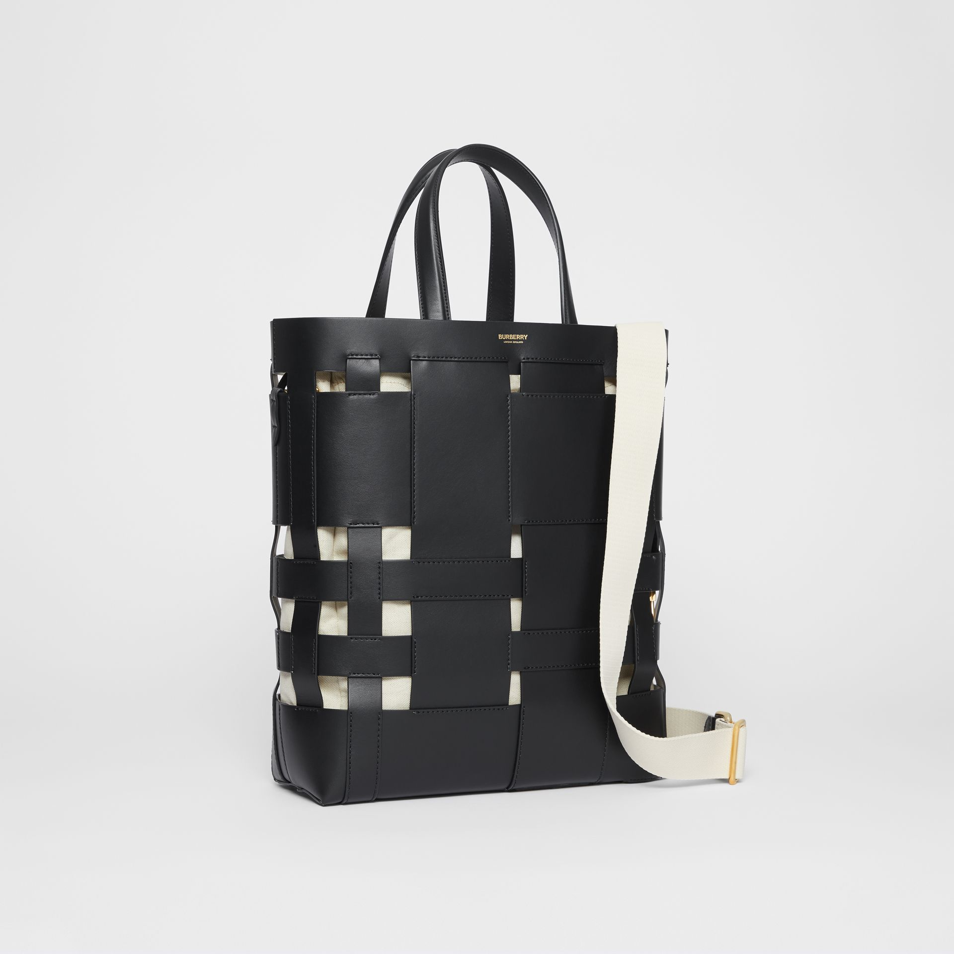 Medium Leather Foster Tote in Black - Women | Burberry - gallery image 6