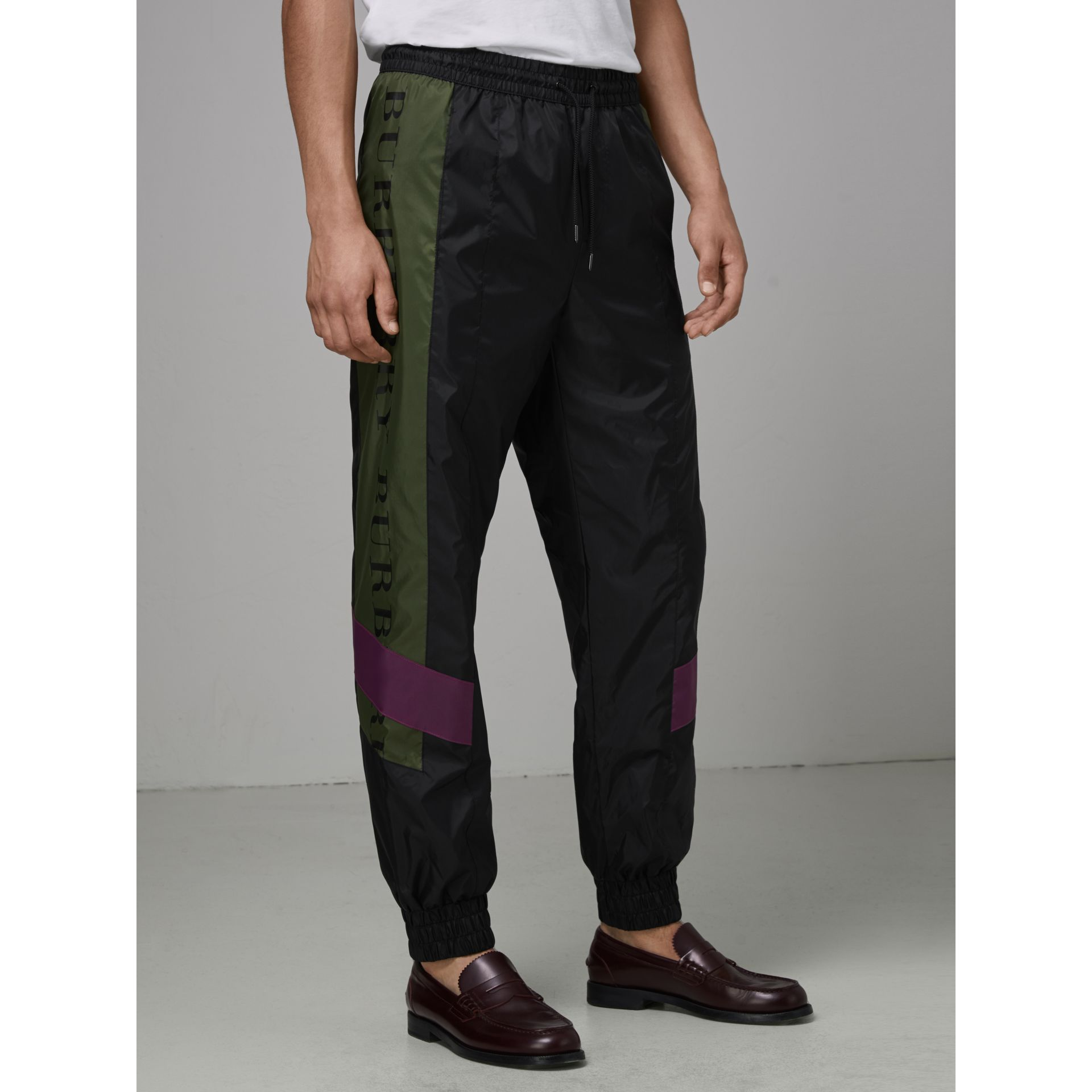 Logo Panel Shell Suit Pants in Black - Men | Burberry United Kingdom - gallery image 4