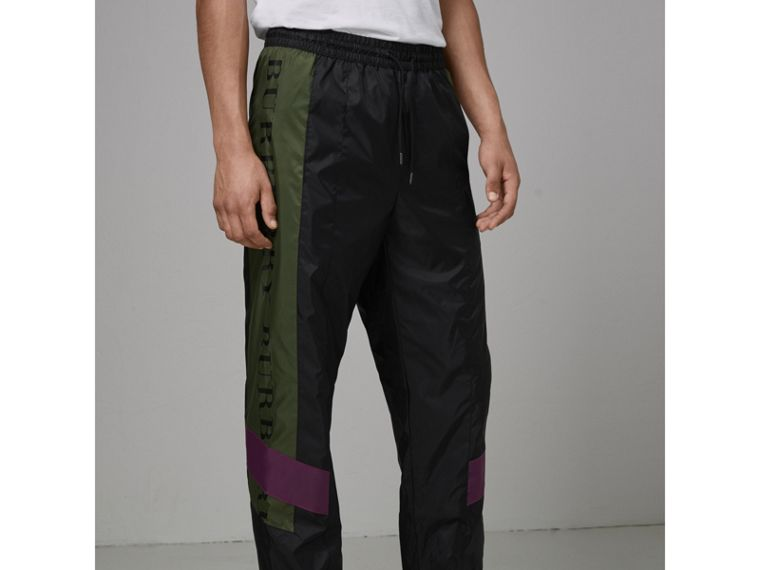 Logo Panel Shell Suit Pants in Black - Men | Burberry United Kingdom - cell image 4