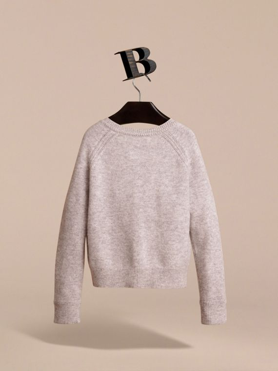 Check Detail Cashmere Cardigan in Light Grey Melange - Girl | Burberry - cell image 3