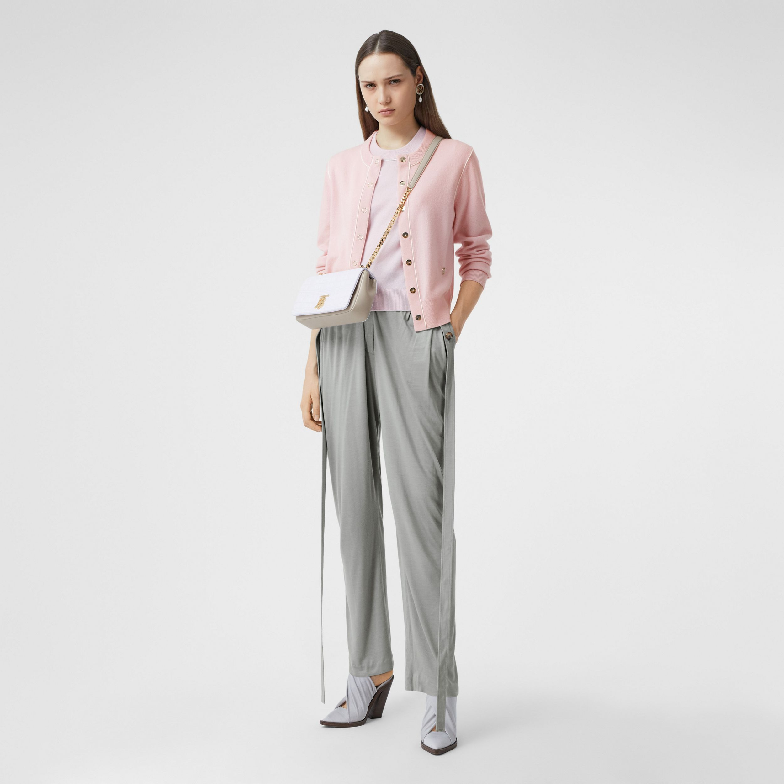 Silk Trim Monogram Motif Cashmere Cardigan in Copper Pink - Women | Burberry Australia - 1